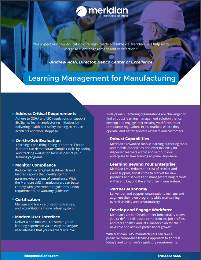 learning management in manufacturing a quick brief